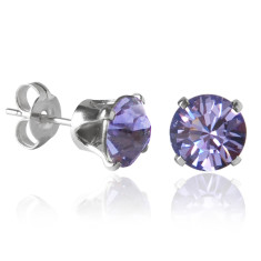 Swarovski crystal solitaire stud earrings in tanzanite purple