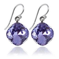 Swarovski crystal earrings in tanzanite