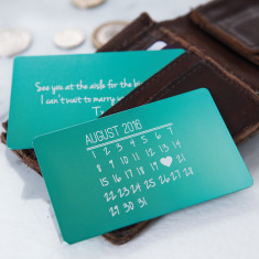 Personalised calendar metal keepsake card