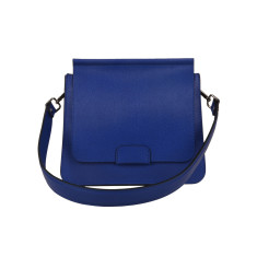 Leather Shoulder Bag in Blue Mediterranean