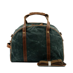 Canvas Waterproof Travel Bag With Leather Handle in Green