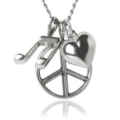 Peace love music necklace