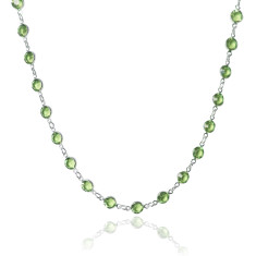 Swarovski crystal jewelled chain necklace in peridot