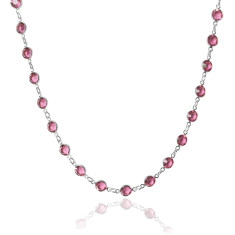 Swarovski crystal jewelled chain necklace in rose pink