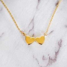 Twin Heart Necklace (silver/gold)