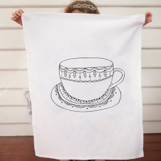 Tea cup design DIY tea towel kit