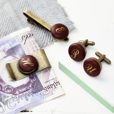 Brass monogrammed tie clip/money clip & cufflinks set