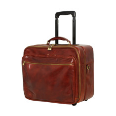 Pilot trolley leather bag in brown