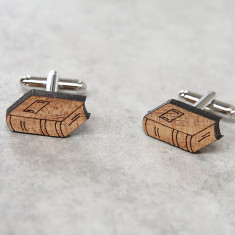 Book solid timber cufflinks