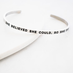 She believed she could so she did bangle in rose gold or silver