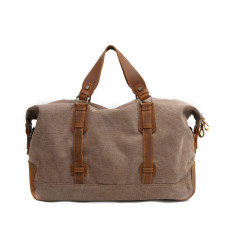 Brown canvas weekend duffle bag