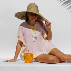 Meila Kaftan in pink fan print