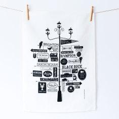 Melbourne Bayside linen tea towel