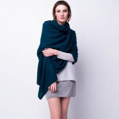 Sabrina oversized cashmere travel wrap - turquoise