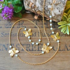 Alana gold butterflies and semi-precious stone necklace
