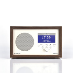 Albergo+ bluetooth digital radio in white with real wood cabinet