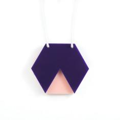 Geo hexagon necklace in navy & blush pink