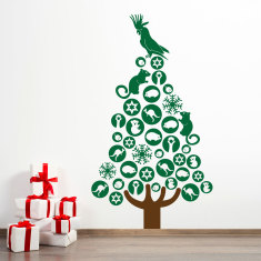 Australian Christmas tree wall decal in large