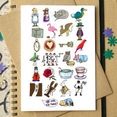 Alice in wonderland alphabet card