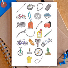 Cycling alphabet greetings card