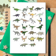Dinosaur alphabet greeting card