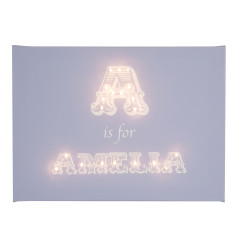 Alphabet illuminated canvas & nightlight in traditional font