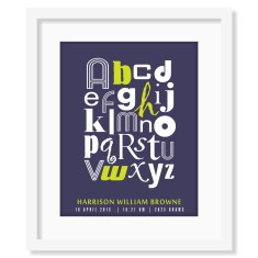 Personalised alphabet birth print for boys