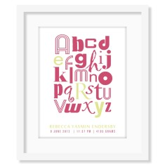 Personalised alphabet print for girls