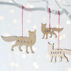 Personalised Wooden Arctic Fox Decoration