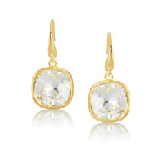 Crystal & Yellow Gold Vermeil Cushion Drop Earrings