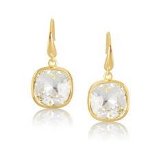 Crystal & Yellow Gold Vermeil Cushion Drop Earrings
