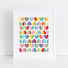 love heart pattern art print