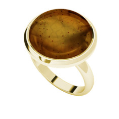 Amber yellow gold-plate cabochon ring