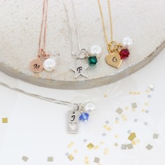 Personalised Charm and Crystal Birthstone Necklace