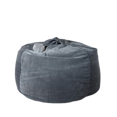 Teardrop Bean Bag With Handle Feature - Velvet/Pom Pom in Dark Grey