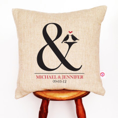 Ampersand personalised linen cushion cover