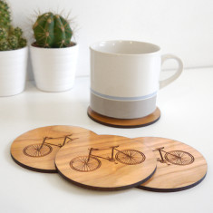 Wooden bicycle coasters (set of 4)