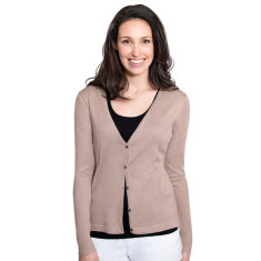 Silk Cashmere Cardigan with Pointelle Detail - SandStone