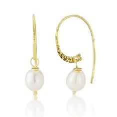 Pearl Earrings on Gold Vermeil Hoops