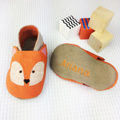 Personalised Embroidered Fox Baby Shoes