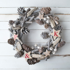 Personalised Family White Christmas Wreath
