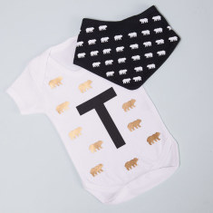 Personalised Bears & Initial Baby Grow and Bib Set
