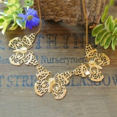 Annabelle gold filigree butterflies necklace