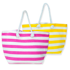 Striped cotton beach tote (pink or yellow)