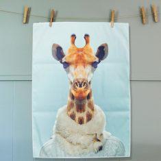 Giraffe tea towel