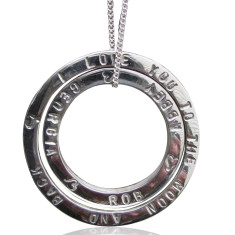 Personalised solid sterling silver hand-stamped circles pendant