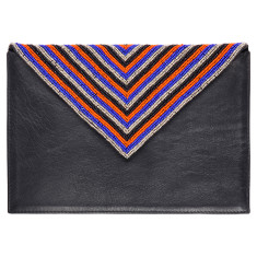 Black leather beaded clutch in royal blue/orange