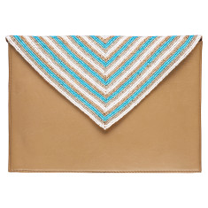 Tan leather beaded clutch in turquoise/white