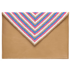 Tan leather beaded clutch in blue/pink