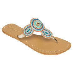 Juliet leather sandals in coral/blue
